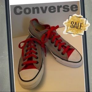 2/$30 Converse Custom Gray Red Low Ox Sneakers 6